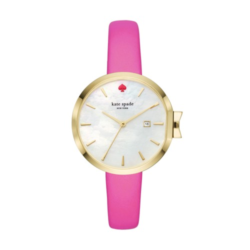 Kate-Spade Kate Spade New York Gold-Tone And Bougainvillea Pink Leather Park..
