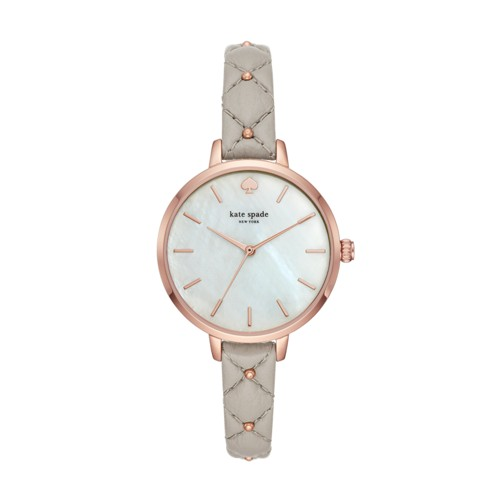 Kate-Spade Kate Spade New York Metro Three-Hand Gray Leather Watch Ksw1470 J..
