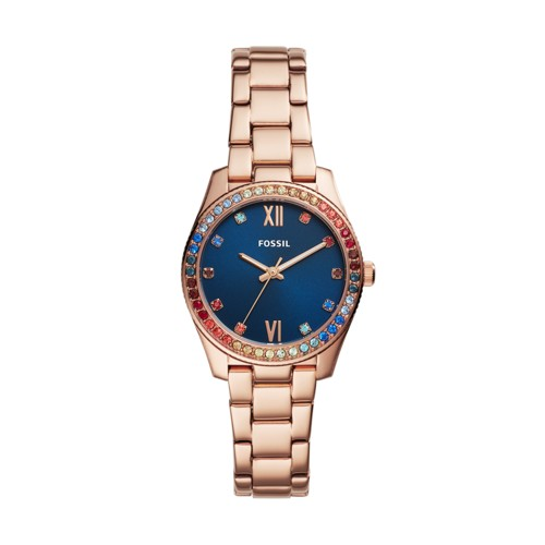 fossil Limited Edition Scarlette Prismatic Mini Three-Hand Rose Gold-Tone Stainless Steel Watch LE1057