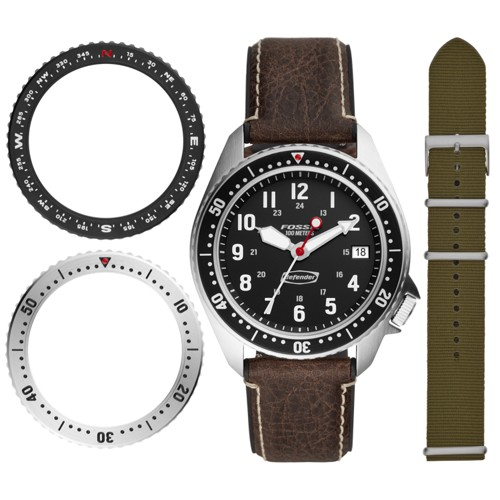 Defender Archival Series Three-Hand Date Brown Leather Watch LE1062