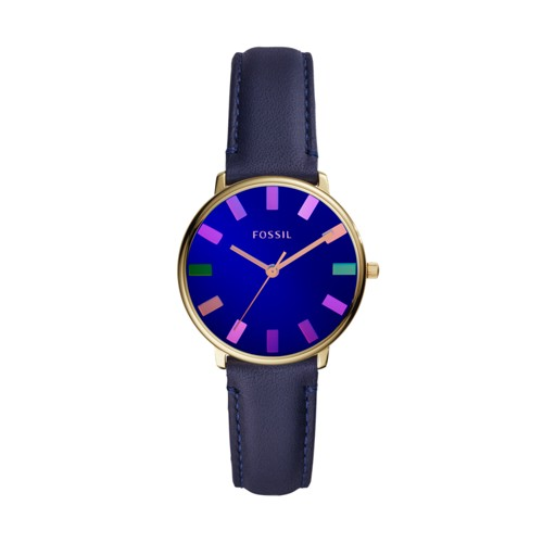 Limited Edition The Colorist Watch Three-Hand Navy Leather Watch LE1078