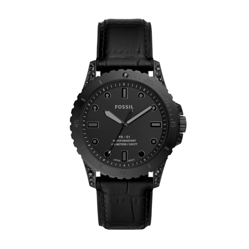 Limited Edition FB-01 Three-Hand Black Leather Watch LE1090