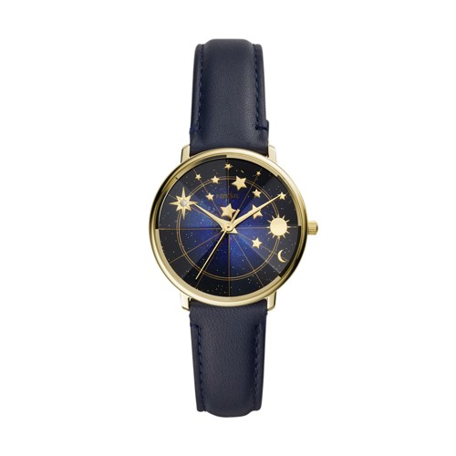 Limited Edition Prismatic Mystic Three-Hand Navy Leather Watch LE1094