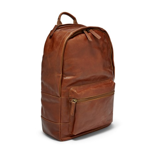 Fossil Estate Casual Leather Backpack Mbg9242222 Color: Cognac