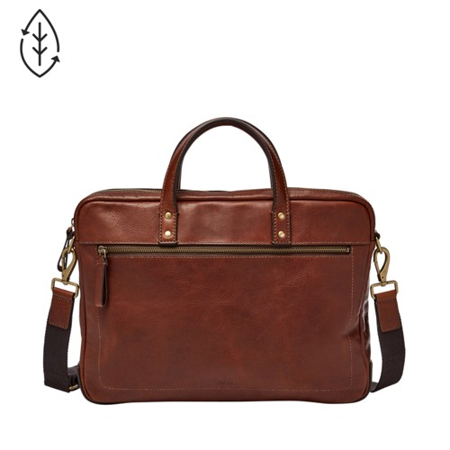 Fossil Haskell Single Zip Briefcase Mbg9343222 Color: Cognac