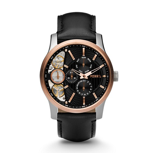 Fossil Mechanical Twist Leather Watch Black - ME1099