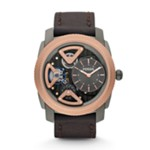 Mechanical Twist Leather Watch Brown Grey, Fashionable Men's Mechanical Watches Fossil Discount ME1122