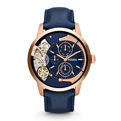 fossil Townsman Multifunction Navy Leather Watch ME1138
