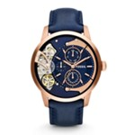 Townsman Multifunction Leather Watch - Blue Blue, Fashionable Men's Mechanical Watches Fossil Discount ME1138