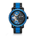 Nate Multifunction Silicone Watch Black And Blue Black, Fashionable Men's Mechanical Watches Fossil Discount ME1140
