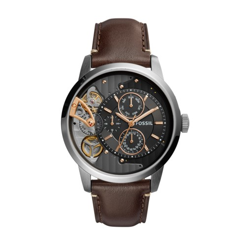 Fossil Townsman Twist Multifunction Dark Brown Leather Watch ME1163