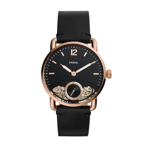 fossil The Commuter Twist Black Leather Watch ME1168