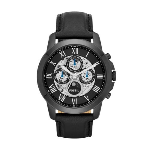 fossil Grant Automatic Black Leather Watch ME3028