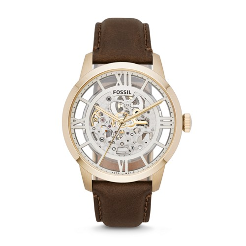 Fossil Townsman Automatic Brown Leather Watch Me3043 Silver