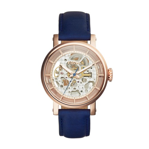 Fossil Original Boyfriend Automatic Navy Leather Watch ME3086