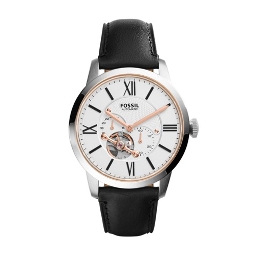 Fossil Townsman Automatic Black Leather Watch Me3104