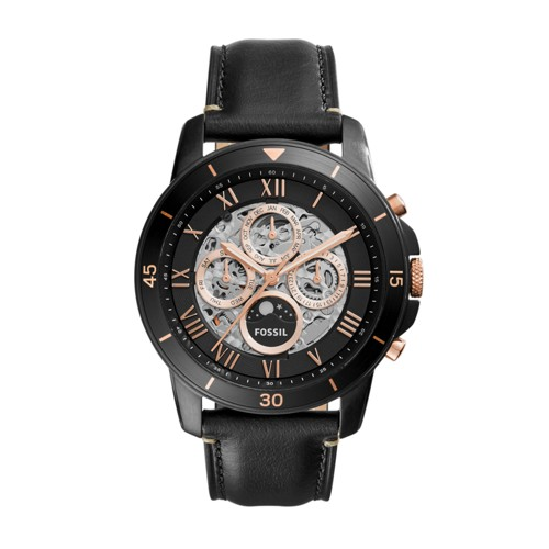 Fossil Grant Sport Automatic Black Leather Watch ME3138