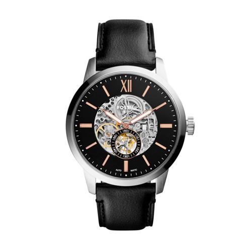 Fossil Townsman 48mm Automatic Black Leather Watch ME3153