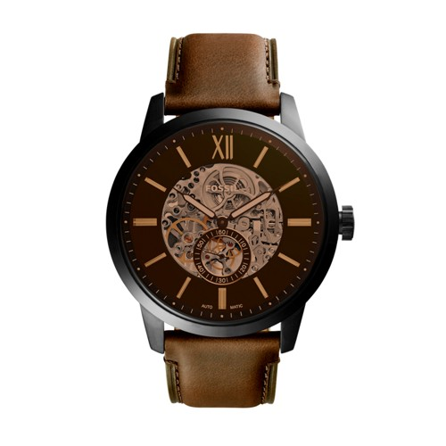 Fossil Townsman 48Mm Automatic Brown Leather Watch  Jewelry