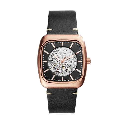 Fossil Rutherford Automatic Three-Hand Black Leather Watch ME3156