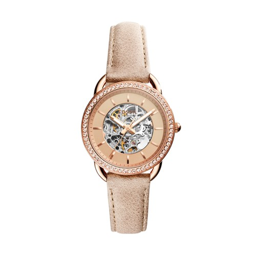 Fossil Tailor Automatic Three-Hand Sand Leather Watch ME3157