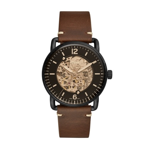 Fossil Commuter Automatic Brown Leather Watch ME3158