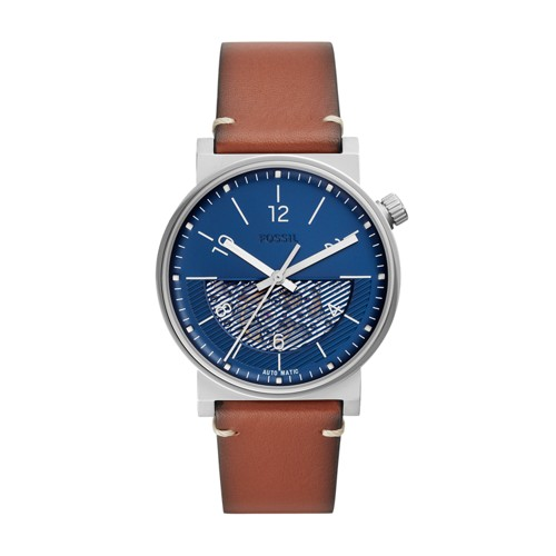 fossil Barstow Automatic Luggage Leather Watch ME3168