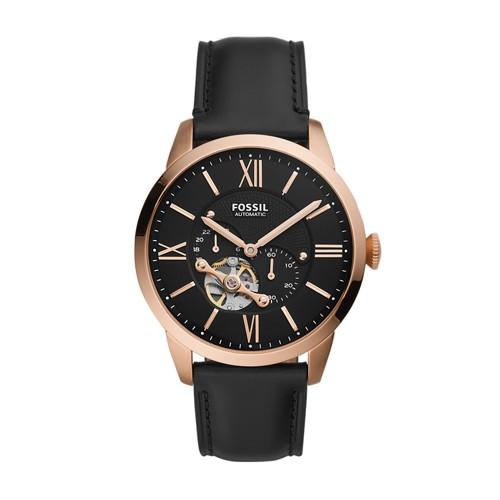 Fossil Townsman Automatic Black Leather Watch  jewelry