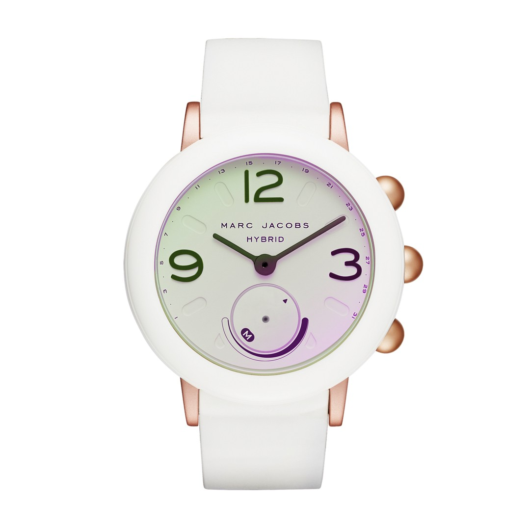 Marc-Jacobs Refurbished Marc Jacobs Riley White Rubber Hybrid Smartwatch Mjt..