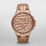 Gramercy Rose Gold Tone Python Baguette Glitz Watch