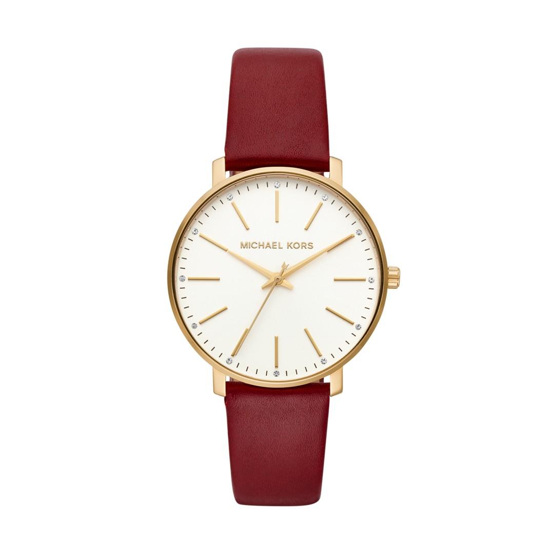 Michael-Kors Michael Kors Women&Apos;S Pyper Three-Hand Merlot Leather Watch..