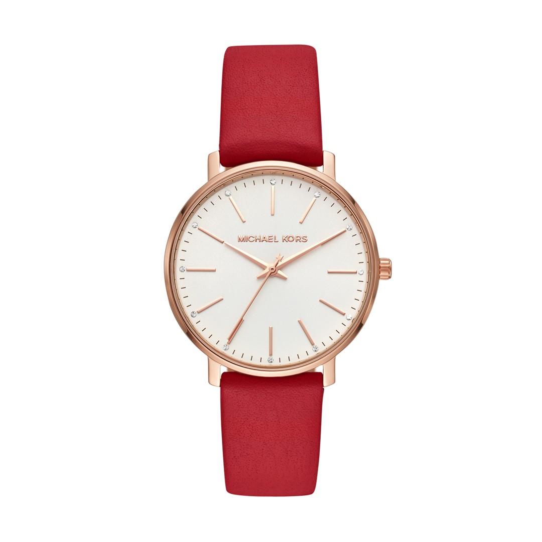 Michael-Kors Michael Kors Women&Apos;S Pyper Three-Hand Red Leather Watch Mk..