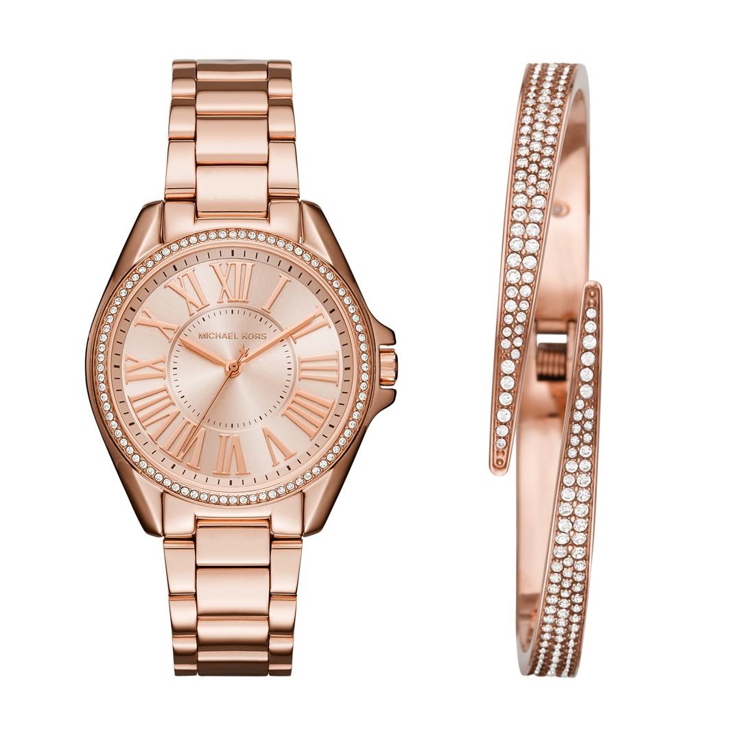 Michael-Kors Kacie Stainless Rose Gold-Tone Watch And Bracelet Gift Set Mk3569 Jewelry - MK3569-WSI