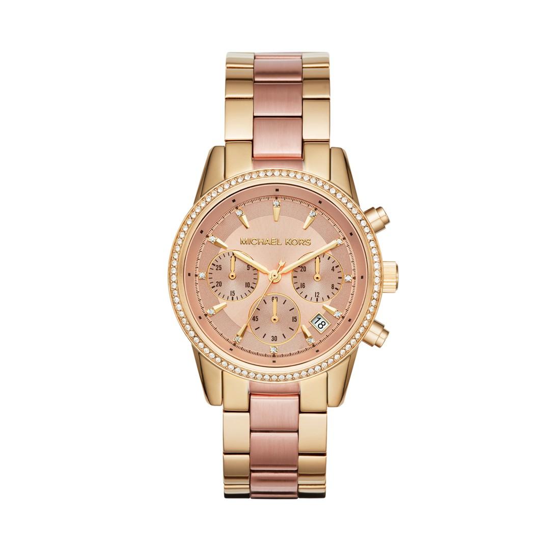 Michael Kors Ritz Two-Tone Chronograph Watch Mk6475 Jewelry - MK6475-WSI
