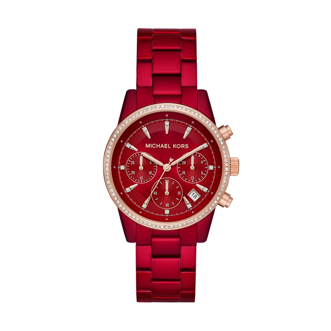 Michael Kors Michael Kors Women&Apos;S Ritz Chronograph Red Stainless Steel ..