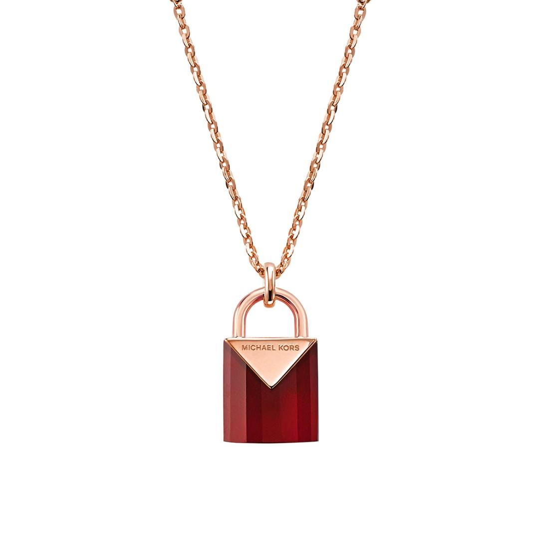 Michael Kors Michael Kors Women&Apos;S Semi-Precious 14K Rose Gold-Plated Sterling Silver Padlock Necklace Mkc1039ad791 Jewelry - MKC1039AD791-WSI