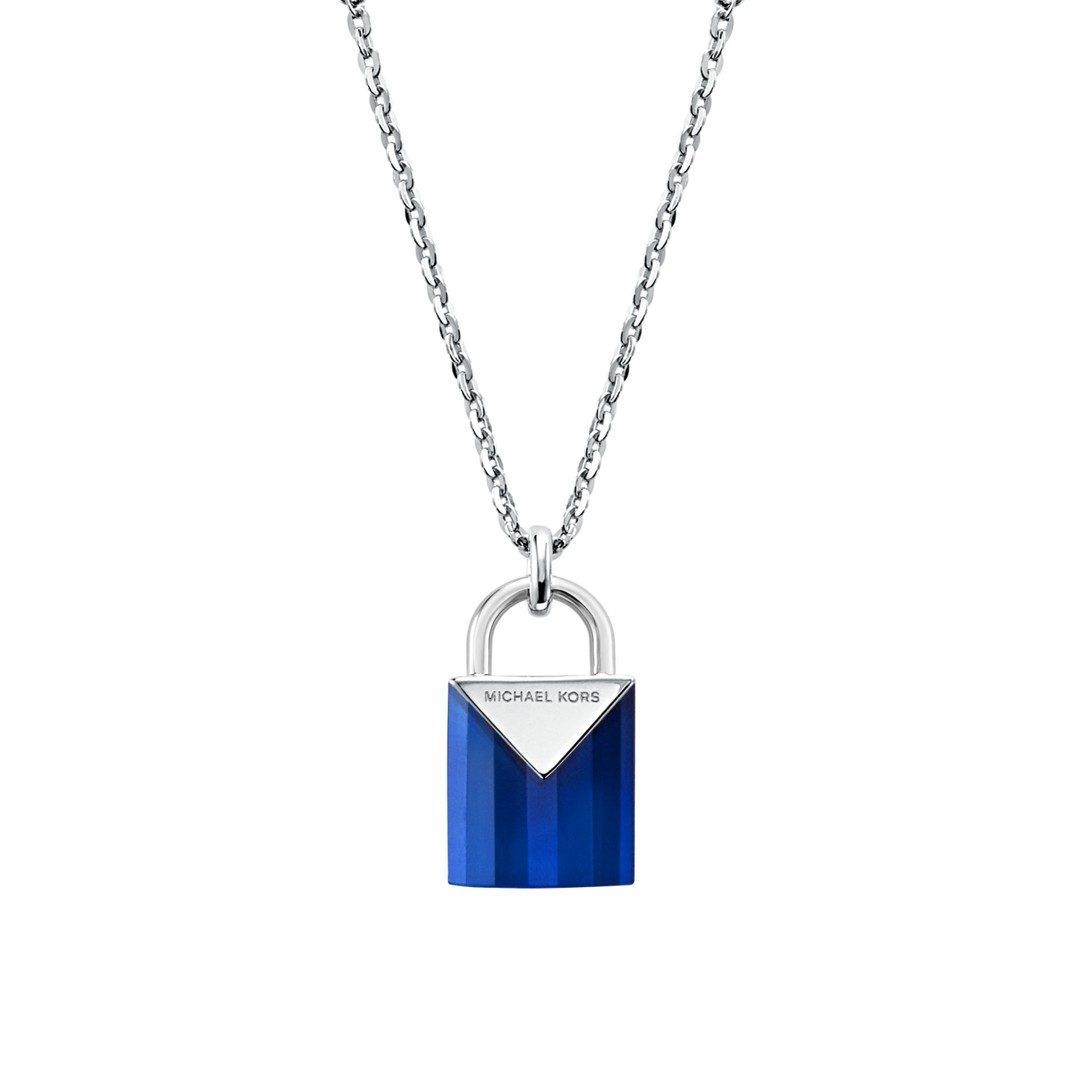 Michael Kors Michael Kors Women&Apos;S Semi-Precious Sterling Silver Padlock Necklace Mkc1039af040 Jewelry - MKC1039AF040-WSI