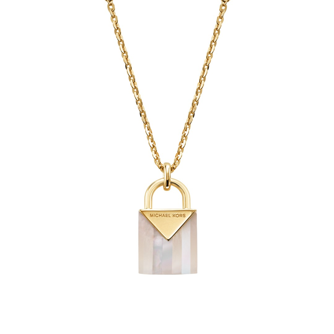 Michael Kors Michael Kors Women&Apos;S Semi-Precious 14K Gold-Plated Sterling Silver Padlock Necklace Mkc1039ah710 Jewelry - MKC1039AH710-WSI