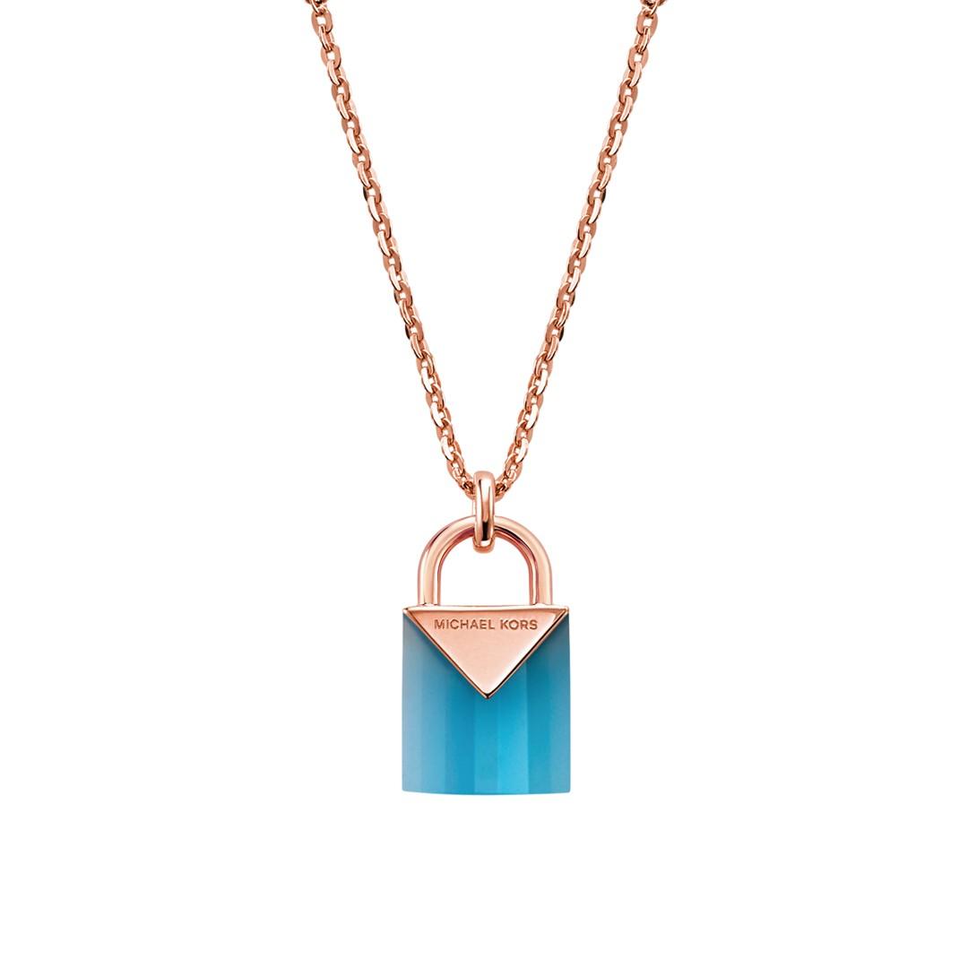 Michael Kors Michael Kors Women&Apos;S Semi-Precious 14K Rose Gold-Plated Sterling Silver Padlock Necklace Mkc1039ai791 Jewelry - MKC1039AI791-WSI