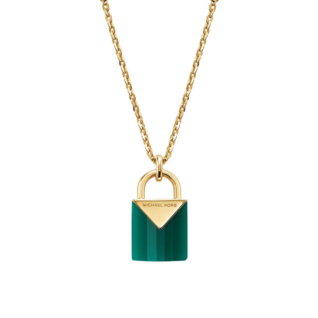 Michael Kors Michael Kors Women&Apos;S Semi-Precious 14K Gold-Plated Sterling Silver Padlock Necklace Mkc1039aj710 Jewelry - MKC1039AJ710-WSI
