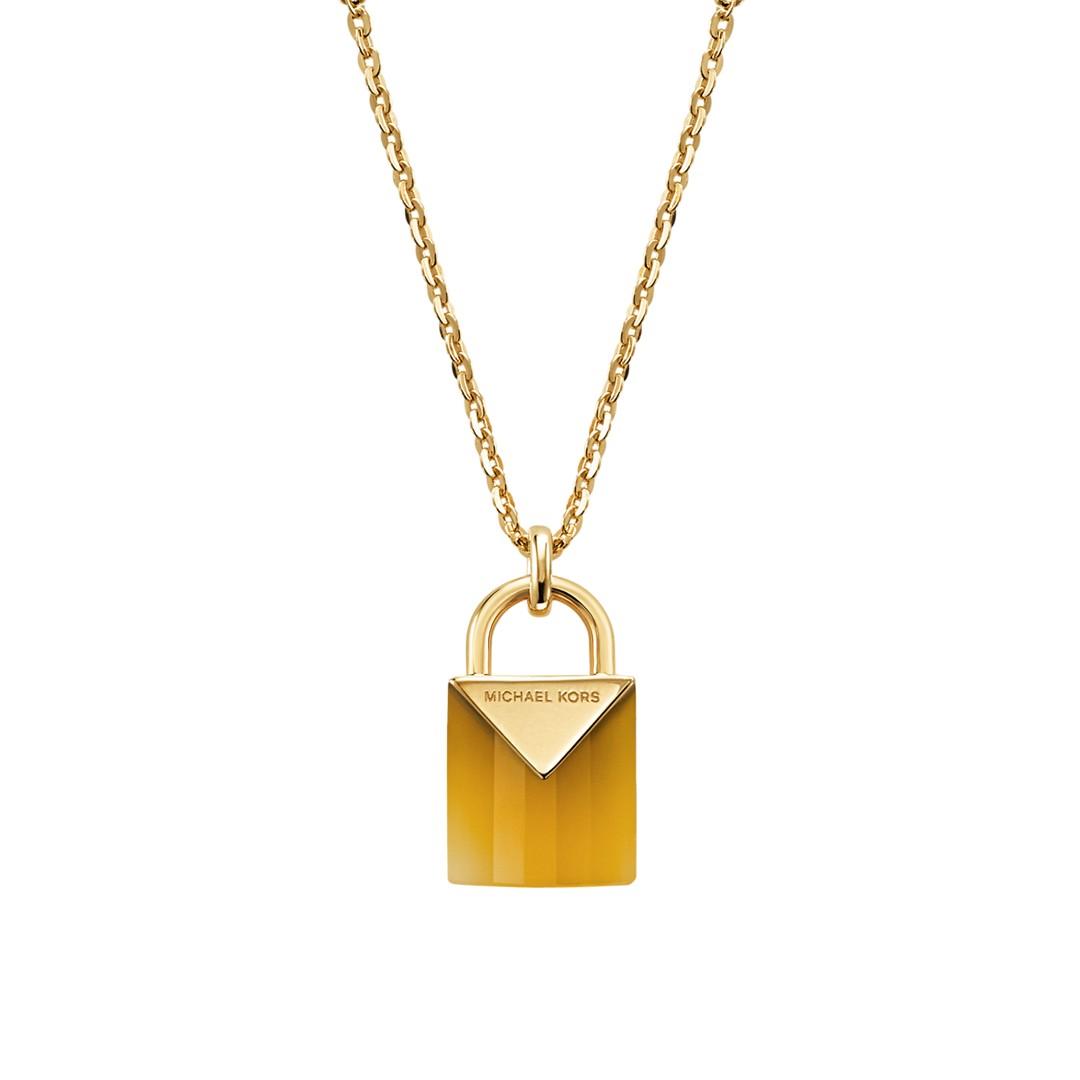 Michael Kors Michael Kors Women&Apos;S Semi-Precious 14K Gold-Plated Sterling Silver Padlock Necklace Mkc1039ak710 Jewelry - MKC1039AK710-WSI