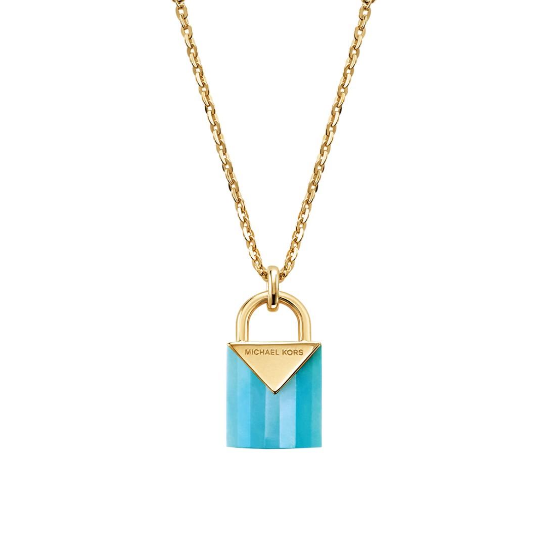 Michael Kors Michael Kors Women&Apos;S Semi-Precious 14K Gold-Plated Sterling Silver Padlock Necklace Mkc1039al710 Jewelry - MKC1039AL710-WSI