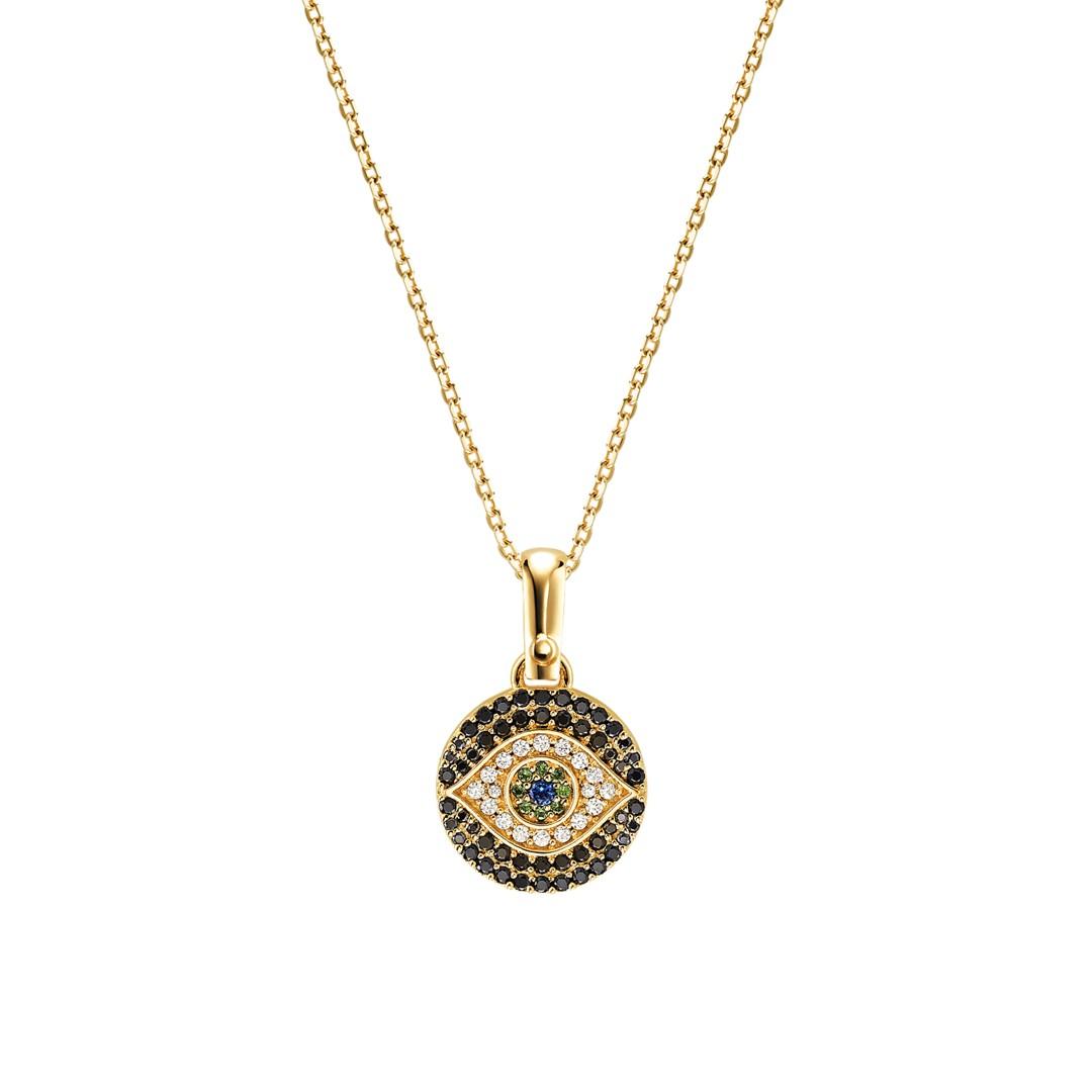 Michael Kors Michael Kors Women&Apos;S Custom Kors 14K Gold-Plated Sterling Silver Evil Eye Necklace Mkc1128ax710 Jewelry - MKC1128AX710-WSI