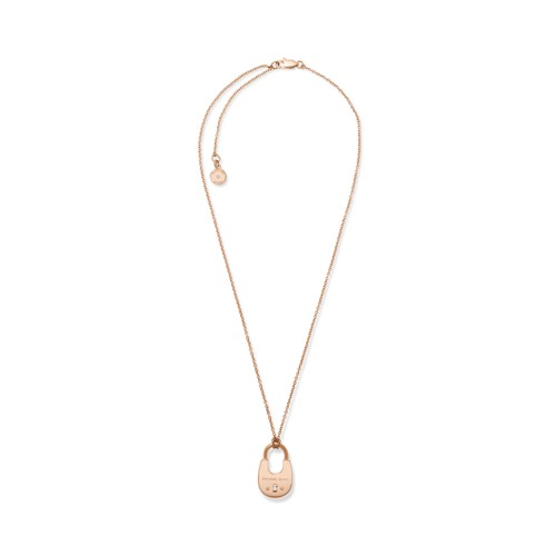 Micheal Kors Rose Gold-Tone Padlock Necklace Mkj4635791 Jewelry - MKJ4635791..