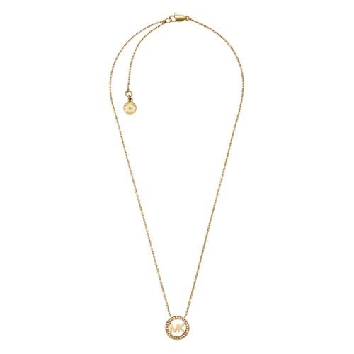 Micheal Kors Gold-Tone Logo Pendant Necklace Mkj4732710 Jewelry - MKJ4732710..
