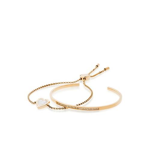 Michael-Kors Gifting Gold-Tone Cuff And Slider Bracelet Set Mkj5422710 Jewel..
