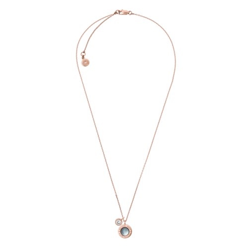 Michael-Kors Logo Rose Gold-Tone, Cz And Eggplant Mother-Of-Pearl Charm Pend..