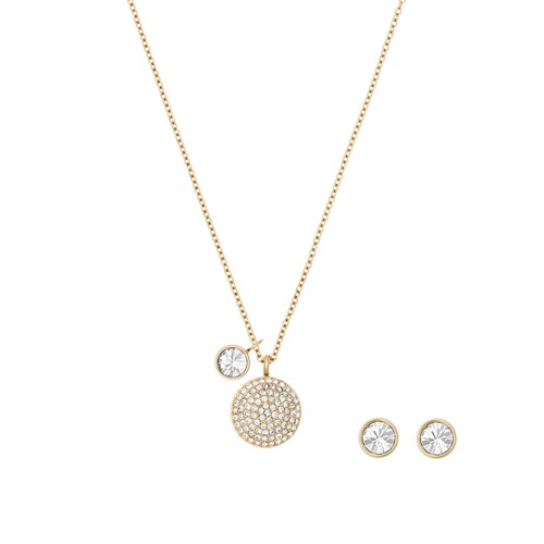 Michael-Kors Holiday Gifting Gold-Tone Pavé Dome Pendant And Stud Earrings S..