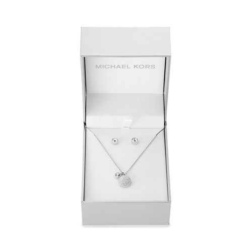 Michael-Kors Holiday Gifting Silver-Tone Pavé Dome Pendant And Stud Earrings..