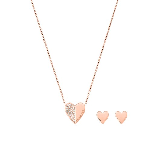 Michael-Kors Holiday Gifting Rose Gold-Tone Heart Pendant And Stud Earrings ..